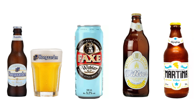 Alguns exemplos de Witbier disponíveis no mercado